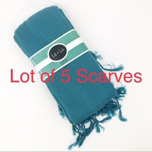 Lot of 5 Soft Scarves Resale or Gifts Blue NEW